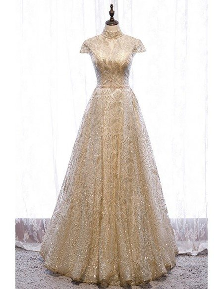 Sparkly Gold Sequined Pattern Long Prom Dress Beaded with Cap Sleeves