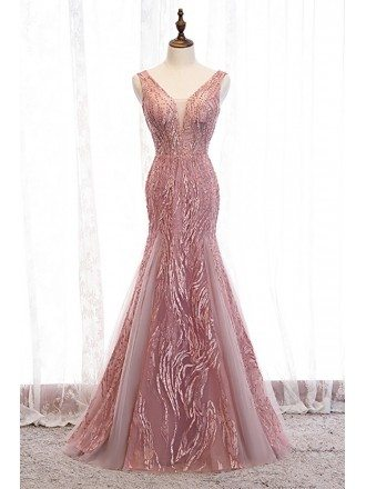 Mermaid Fitted Pink Vneck Prom Dress with Beaded Appliques