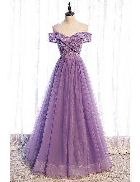 Sequined Purple Pleated Off Shoulder Tulle Prom Dress
