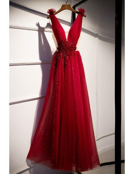 Bling Sequined Deep Vneck Burgundy Prom Dress with Jeweled Waist