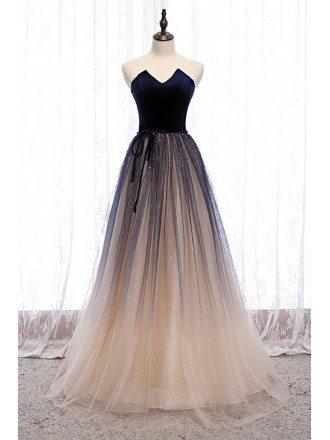 Fantasy Ombre Bling Tulle Party Prom Dress with Sash