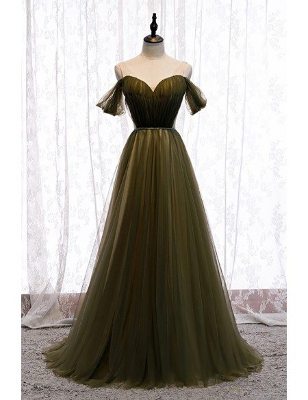 Pleated Dusty Green Tulle Formal Prom Dress with Beaded Waist