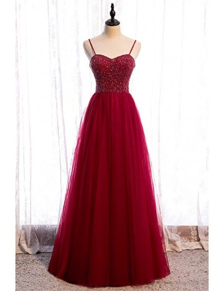 Burgundy Aline Tulle Prom Dress Sequined Bodice with Straps