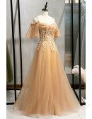Champagne Long Tulle Prom Dress with Beaded Straps Appliques