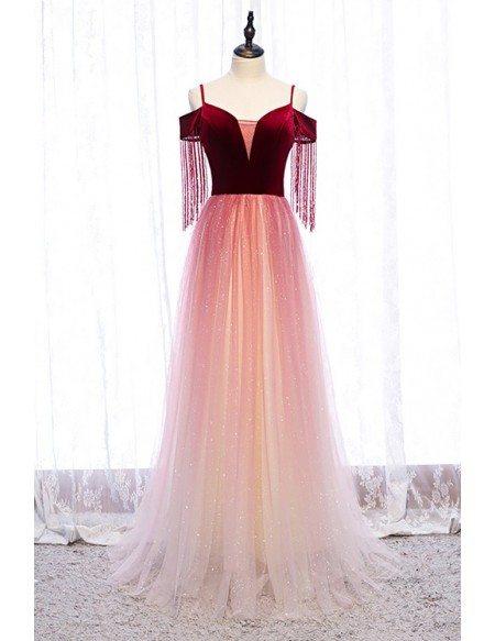 Velvet with Tulle Aline Long Prom Dress with Straps Bling