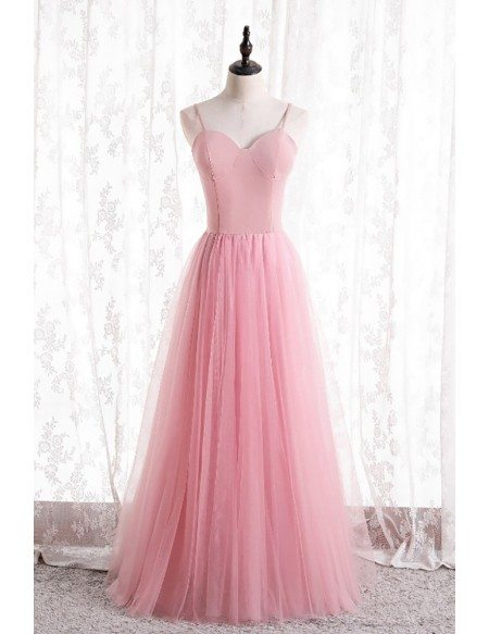 Simple Pink Tulle Aline Prom Dress with Spaghetti Straps