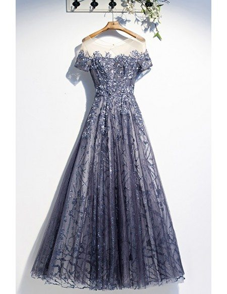 Popular Sequined Blue Tulle Aline Prom Dress with Illusion Short Sleeves