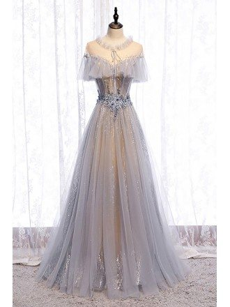 Beautiful Grey Flowy Tulle Unique Prom Dress with Beadings