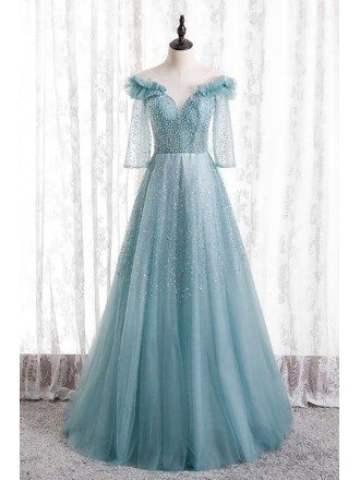Gorgeous Beaded Long Tulle Prom Dress Bling with Sheer Sleeves