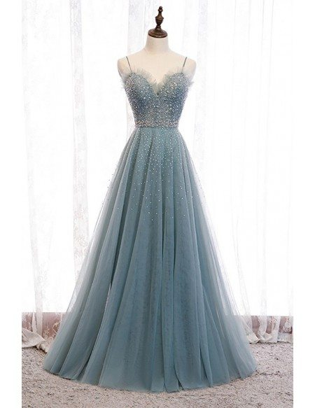 Dusty Blue Aline Long Tulle Prom Dress with Straps Bling Sequins