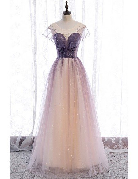Elegant Purple Bling Tulle Prom Dress Illusion Round Neck with Little Stars