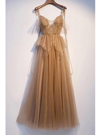 Champagne Flowy Tulle Vneck Prom Dress with Strappy Straps