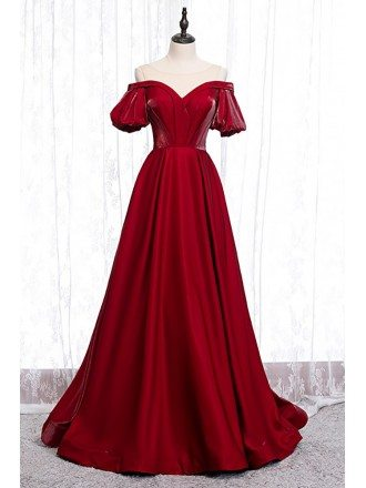 Pleated Burgundy Formal Dress with Illusion Neckline Sleeves
