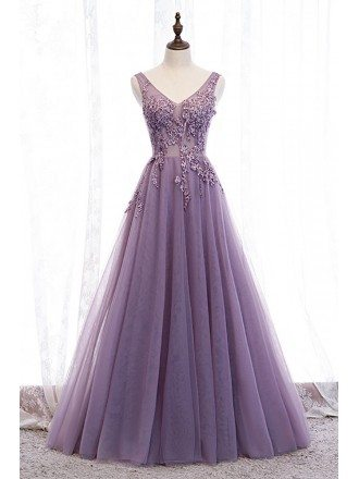 Vneck Purple Long Tulle Prom Dress with Appliques Sleeveless