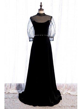 Elegant Long Black Evening Dress with Illusion Neckline Sheer Sleeves