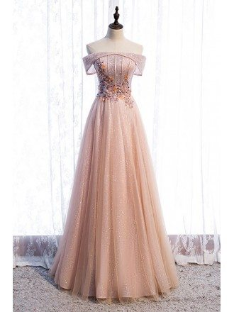 Bling Mesh Off Shoulder Long Tulle Prom Dress with Sequins