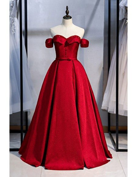 Beaded Sweetheart Pleated Ballgown Burgundy Formal Dress Off Shoulder