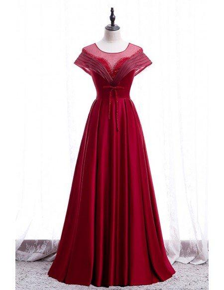 Elegant Round Neck Long Formal Dress Sequined with Keyhole Back