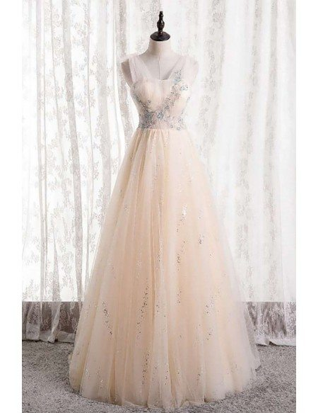 Pretty Light Champagne Tulle Long Prom Dress with Beadings
