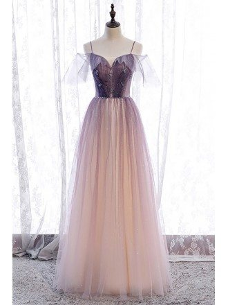 Fantasy Bling Purple Tulle Prom Dress with Spaghetti Straps