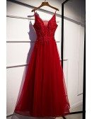 Burgundy Sequined Appliques Aline Tulle Prom Dress with Spaghetti Straps