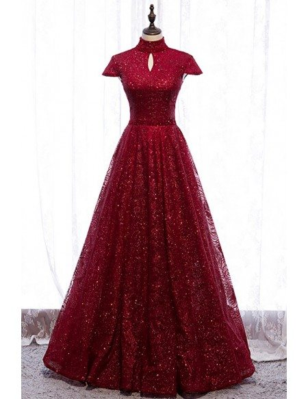 Sparkly Burgundy Sequined Formal Dress High Neck with Cap Sleeves