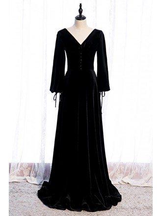 Formal Long Velvet Black Evening Dress Vneck with Long Sleeves