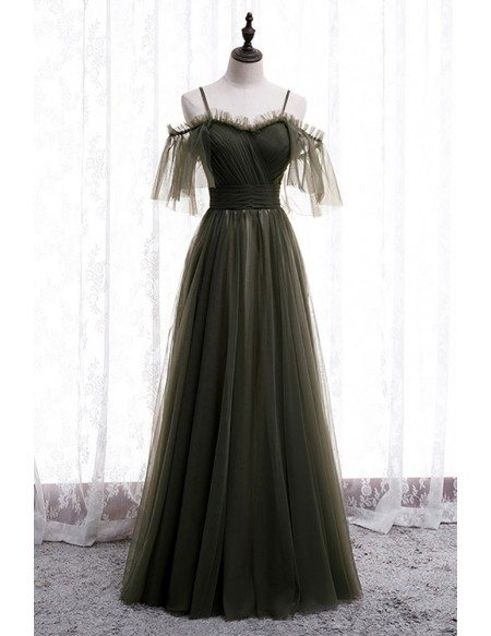 Dusty Green Flowy Long Tulle Prom Dress with Spaghetti Straps