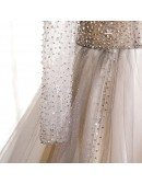 Formal Long Ballgown Tulle Prom Dress with Sequined Long Sleeves