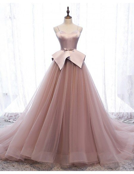 Unique Nude Pink Tulle Long Train Prom Dress with Spaghetti Straps