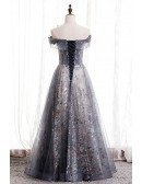 Dusty Purple Tulle Long Prom Dress Big Bow Off Shoulder with Sequins