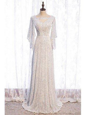 Goddess Bling White Sequins Evening Dress with Dolman Sleeves