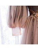 Fairy Cold Shoulder Sleeved Long Tulle Prom Dress with Straps