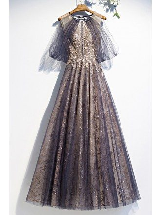 Dusty Purple Bling Sequins Prom Dress Round Neck with Tulle