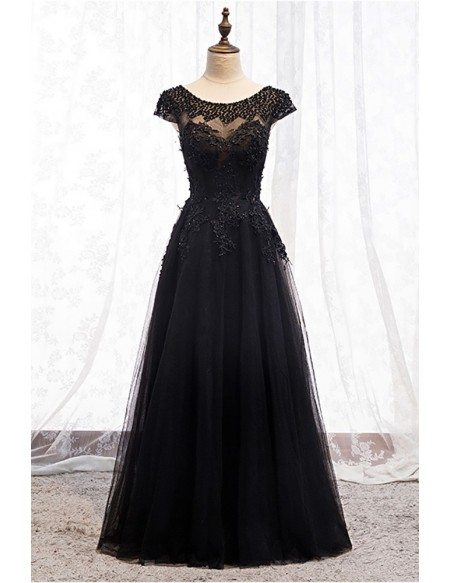 Formal Long Black Prom Dress Sequined Round Neck with Appliques
