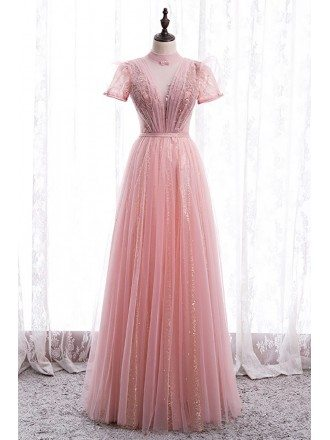 Gorgeous Pink Tulle Vneck Prom Dress with High Neck Short Sleeves