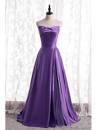 Simple Purple Satin Strapless Evening Dress with Laceup