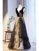 Vneck Black Ruffled Tulle Prom Dress with Sequined Pattern
