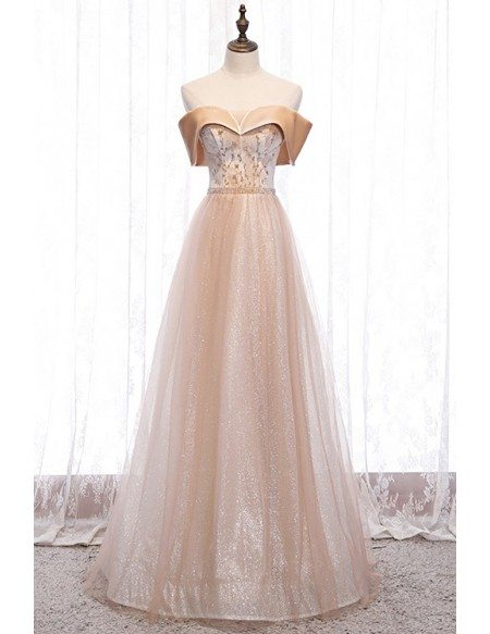 Bling Champagne Tulle Off Shoulder Prom Dress with Beaded Pattern
