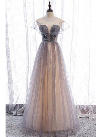 Elegant Grey Bling Tulle Prom Dress Illusion Round Neck with Little Stars