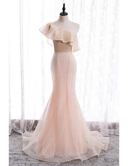 Pink Bling Mesh Mermaid Formal Dress with Ruffled One Shoulder