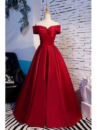 Simple Burgundy Ruffled Formal Dress with Off Shoulder