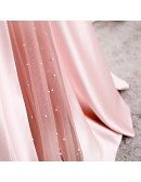 Strapless Pleated Pink Satin Formal Dress with Beadings