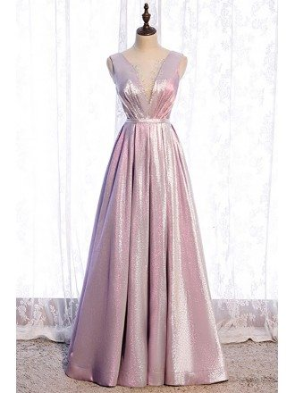 Special Metallic Pink Pleated Prom Dress Vneck with Beadings