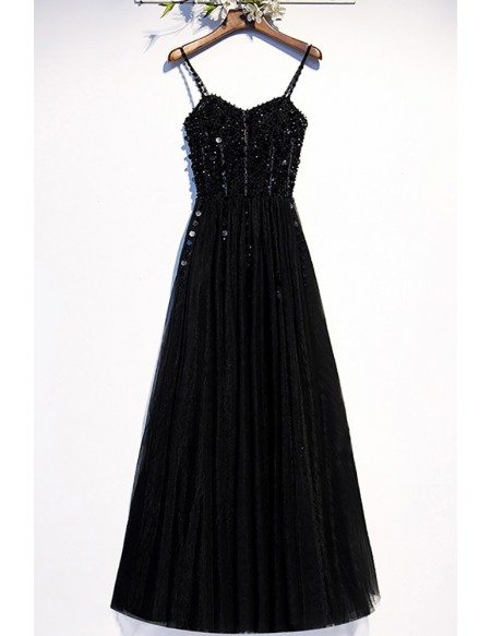Slim Long Black Aline Party Dress Sequined with Spaghetti Straps