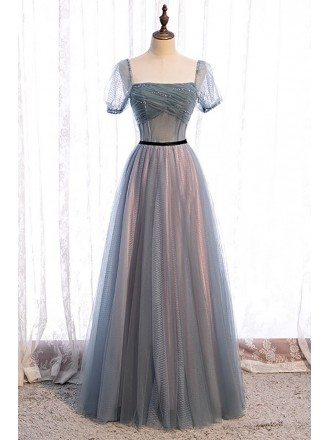 Dusty Square Neckline Aline Tulle Prom Dress with Sleeves