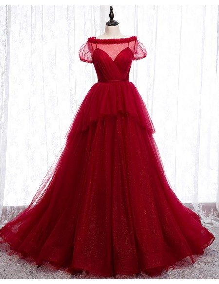 Bling Tulle Burgundy Formal Dress Ballgown with Short Sleeves