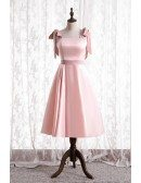 Simple Cute Pink Satin Tea Length Hoco Party Dress with Strappy Straps