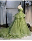 Stunning Ruffled Tulle Green Corset Prom Dress with Straps Long Train