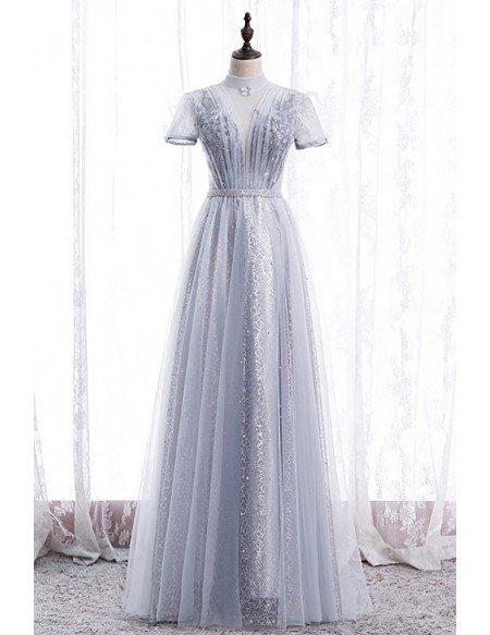 Elegant Grey High Neck Beaded Prom Dress with Short Sleeves